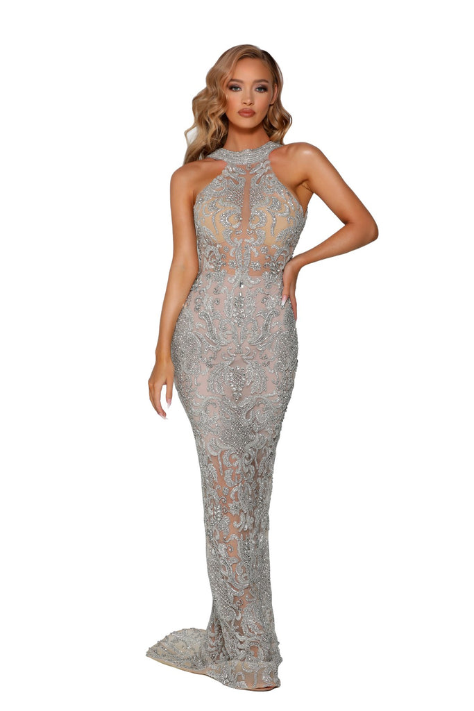 PS4001C - Misse Crystal Couture Dress portia and scarlett UK floorlength crystal couture beaded evening dress at shaide boutique uk online
