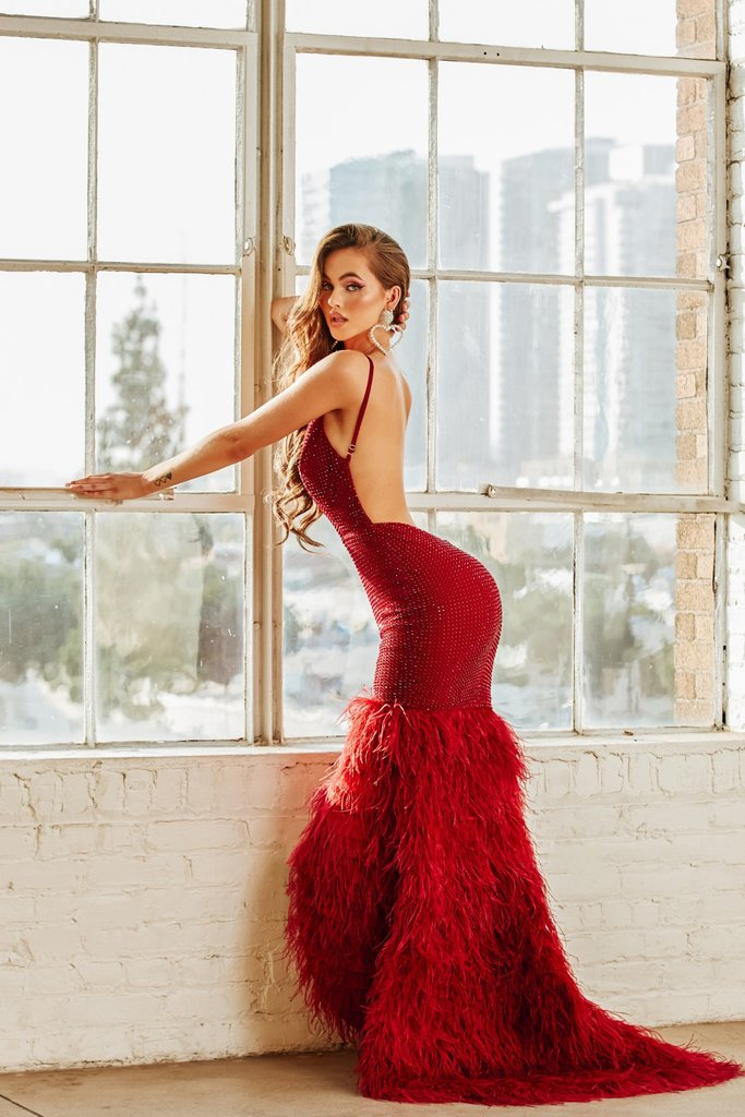 Portia & Scarlett PS6826 - Red bodycon sequin evening gown with ostrich trim detail at shaide boutique uk back