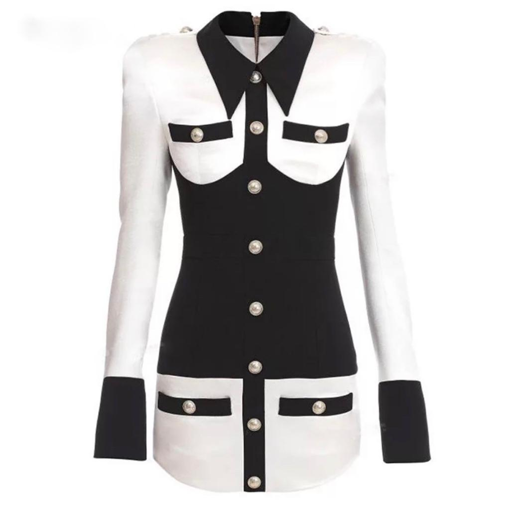 Natalynska Balmain Style Anya monochrome long sleeve coloured mini dress with button detail