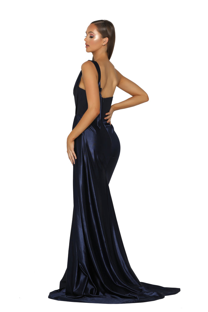 Portia & Scarlett SANTORINI PS5021 - Navy Blue black tie evening gown at shaide boutique uk side