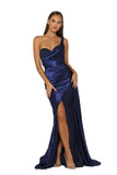 Portia & Scarlett SANTORINI PS5021 - Navy Blue black tie evening gown at shaide boutique uk front