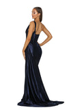 Portia & Scarlett SANTORINI PS5021 - Navy Blue black tie evening gown at shaide boutique uk back