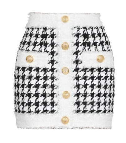 Houndstooth twinset gold buttons mini skirt Malinka balmain style london