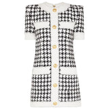 Natalynska houndstooth print mini dress with gold buttons short sleeves balmain style mini dress uk