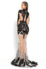 Portia & Scarlett PS5004 - ST Barths (Black) lace and sheer evening dress next day delivery at shaide boutique uk back