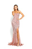 portia and scarlett ps2034 rose pink sequin strapless prom dress thigh high split at shaide boutique prom dresses uk front