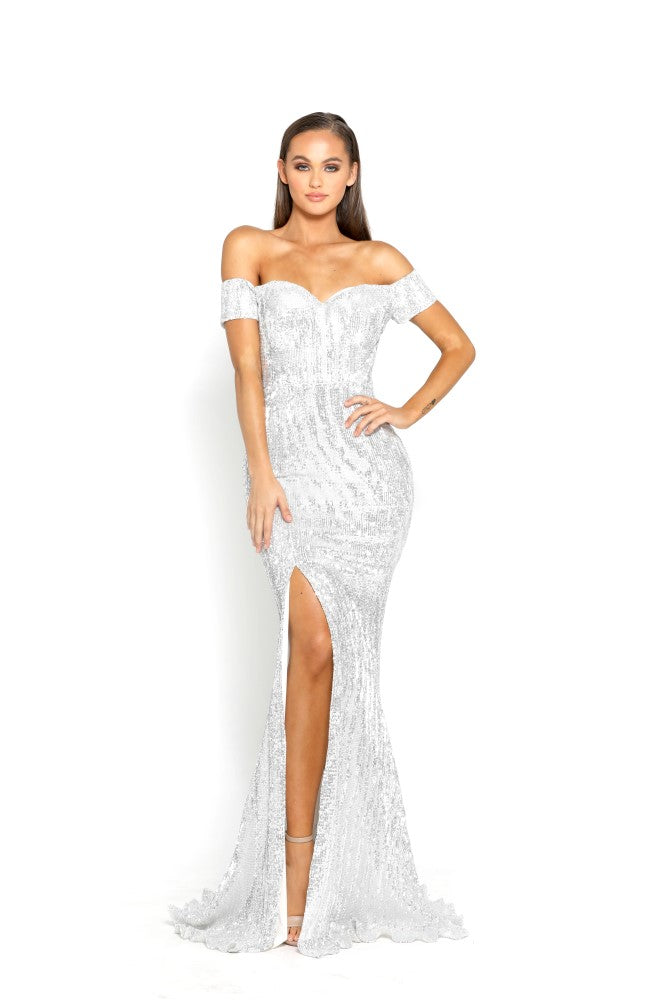 Portia & Scarlett Esme - Monte Carlo Silver Sequins capped sleeved sweetheart neckline, thigh high split