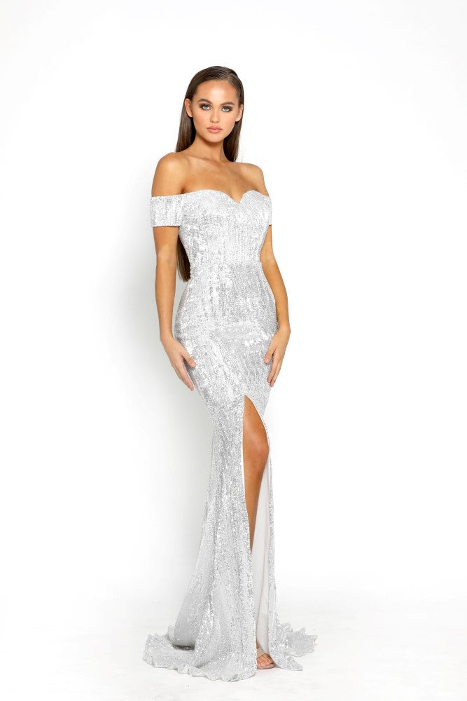 Portia & Scarlett Esme - Monte Carlo Silver Sequins capped sleeved sweetheart neckline, thigh high split sexy fit