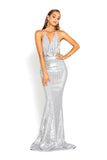 portia and scarlett PS2069 silver sasu backless halterneck gown with a mermaid train and halterneck