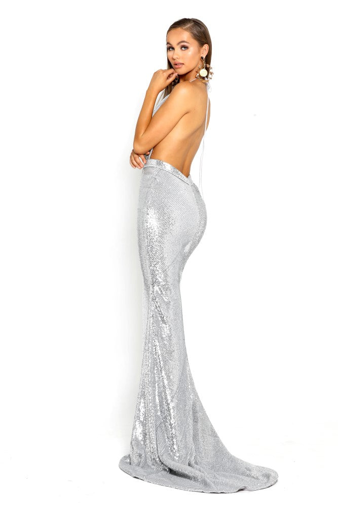 portia and scarlett PS2069 silver sasu backless halterneck gown with a mermaid train and halterneck prom dress shaide boutique uk