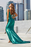 Portia & Scarlett PS21212 emerald green grecian inspired evening gown at shaide boutique uk back