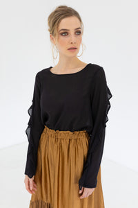 Staple & Cloth Intricate Top - Black Was $255 Now