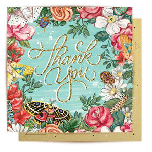 Thank You Bugs N Roses Mini Card