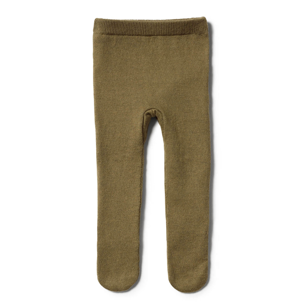 Olive Knitted Legging w Feet