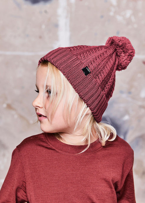 Little Flock of Horrors Merino Thick As Thieves Beanie - Currant
