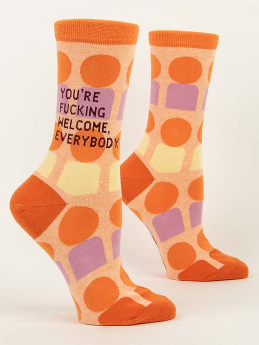 Womens Crew Socks - You're Fucking Welcome
