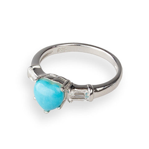 Heart shaped turquoise & white topaz sterling silver ring