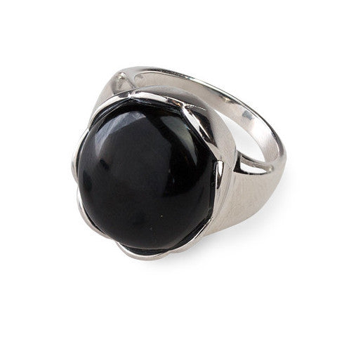 Modern cabochon onyx & sterling silver ring