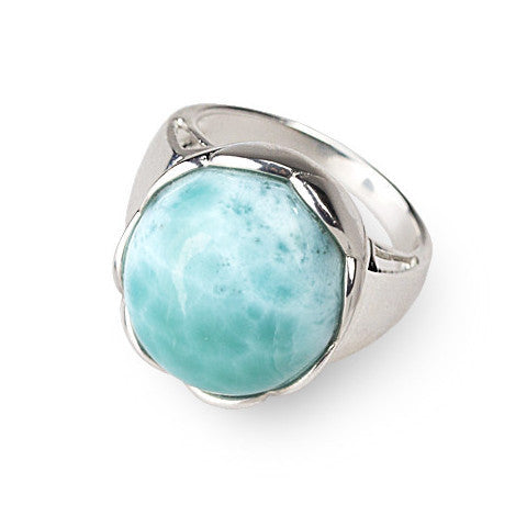 Modern cabochon larimar & sterling silver ring