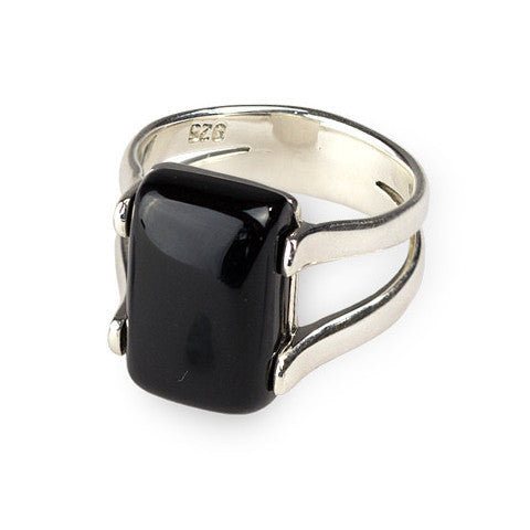 Square onyx sterling silver ring