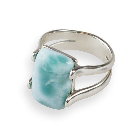 Square larimar sterling silver ring