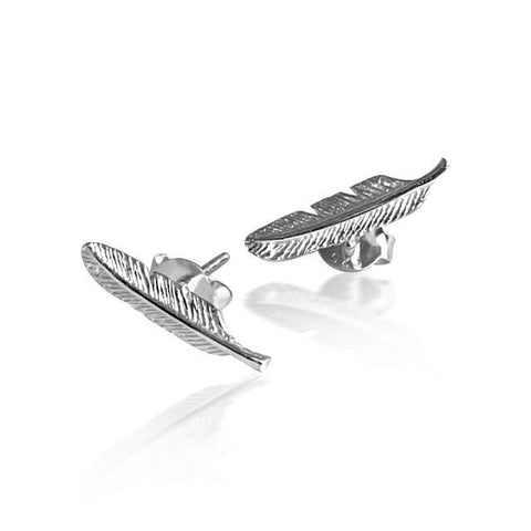 Petite feather stud earring