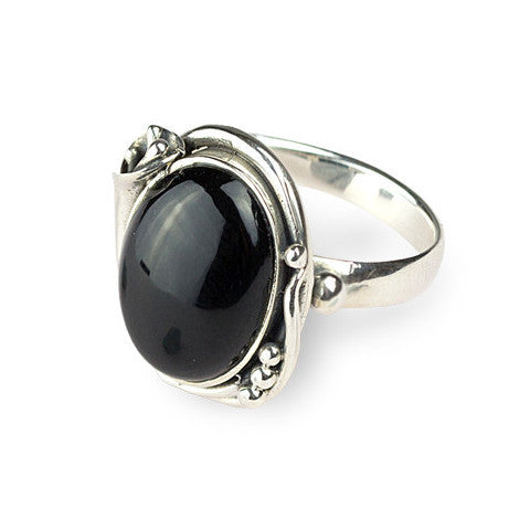 Fancy cabochon onyx sterling silver ring