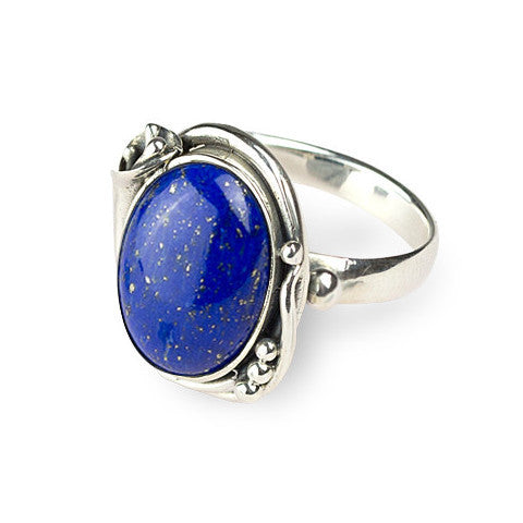 Fancy cabochon lapiz sterling silver ring
