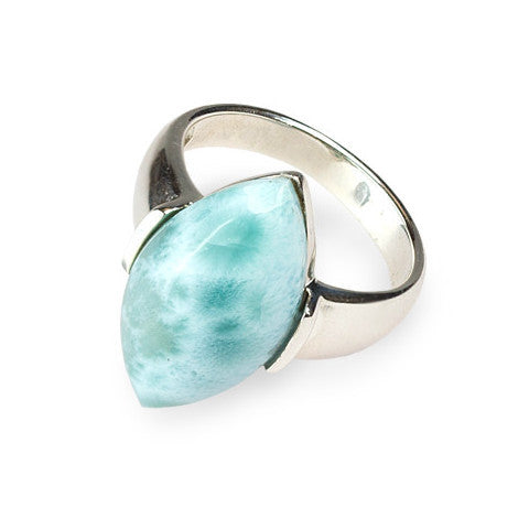 Unique marquise larimar & sterling silver ring
