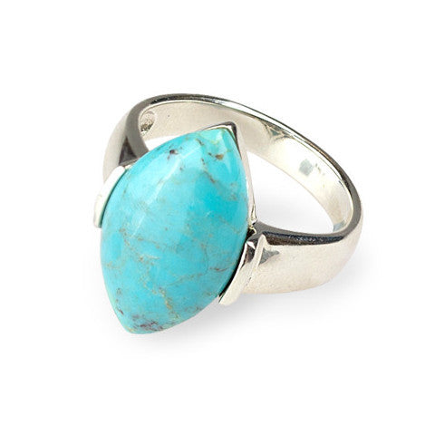Large marquise turquoise & sterling silver ring
