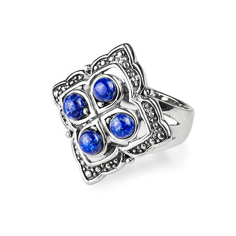 Lapiz & sterling silver quarter ring