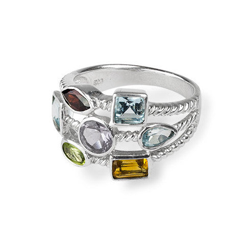 Multi semi-precious stone & sterling silver ring