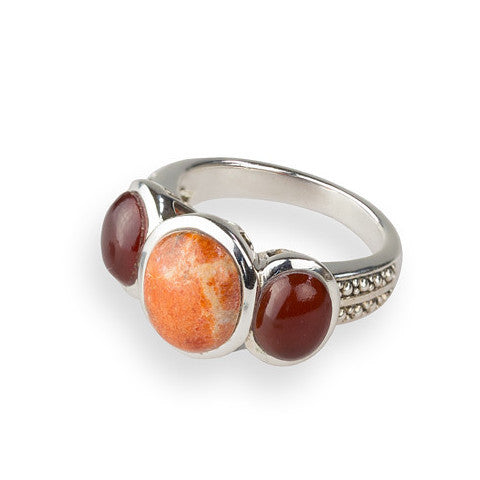 Carnelian, coral & sterling silver tri-stone ring