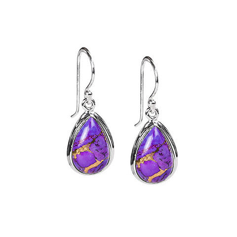 Purple turquoise & sterling silver pear drop earrings