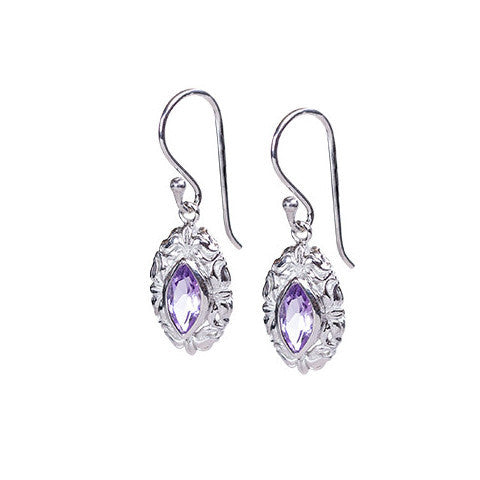 Amethyst & sterling silver elegant drop earrings