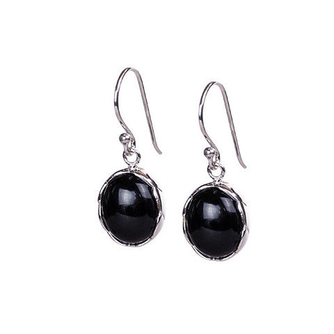 Modern cabochon onyx & sterling silver earring