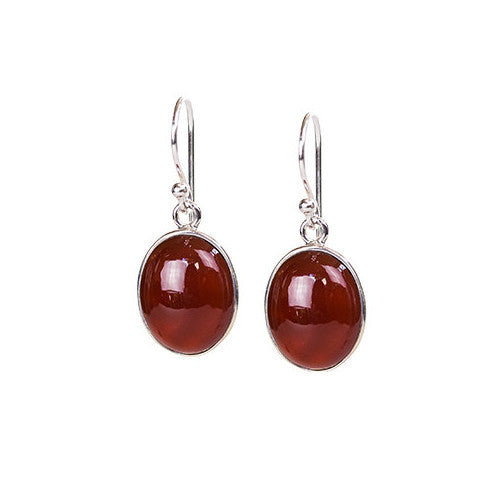 Carnelian & sterling silver cabochon drop earrings