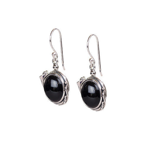 Fancy cabochon onyx sterling silver earrings