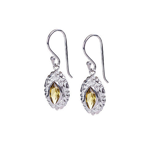 Cognac & sterling silver elegant drop earrings