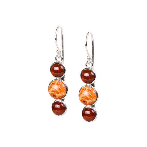 Carnelian, coral & sterling silver tri-stone earrings