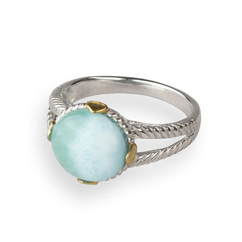 Larimar cabochon sterling silver ring with gold detail