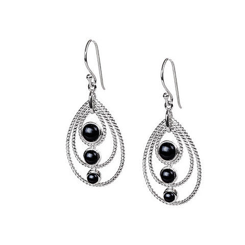 Tri-stone onyx & sterling silver pear drop earrings