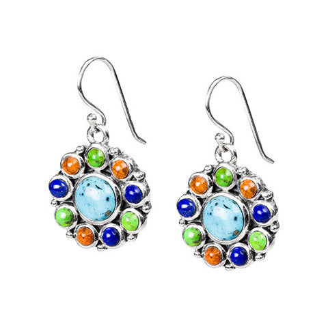 Blue & green turquoise, lapiz & coral sterling silver round drop earrings