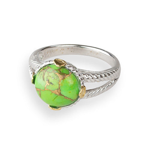 Green turquoise round cabochon sterling silver ring with gold detail