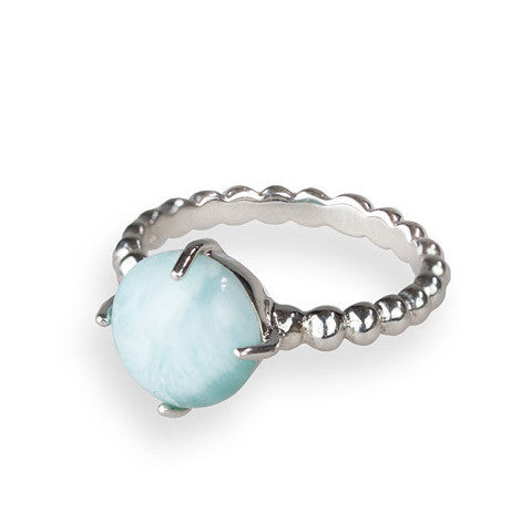 Larimar & sterling silver beaded band ring