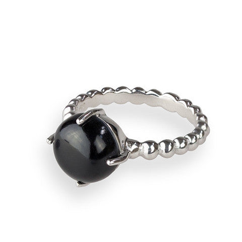 Onyx & sterling silver beaded band ring