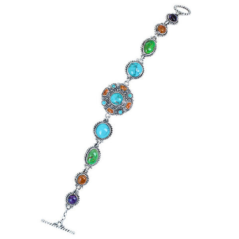 Blue & green turquoise, lapiz & coral sterling silver bracelet