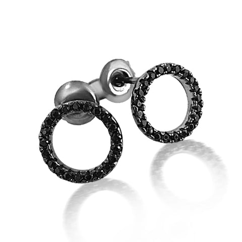 Shiny black circle earrnings