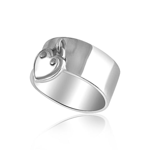 Sterling silver band with heart pendant ring