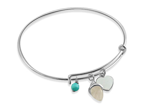Silver heart & turquoise bangle